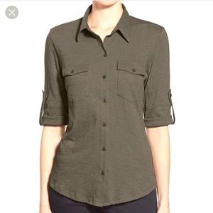 Caslon Olive Green Safari Shirt